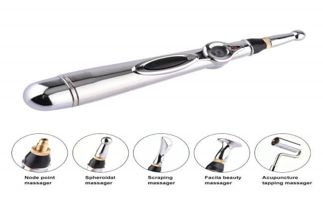 ZOLARO Acupuncture Pen with 5 Massage Head Function Meridian Energy Pain Therapy Relief